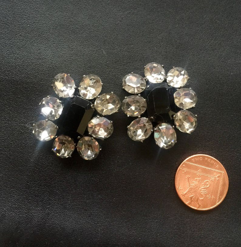 Butler and Wilson 1980s crystal clip on earrings