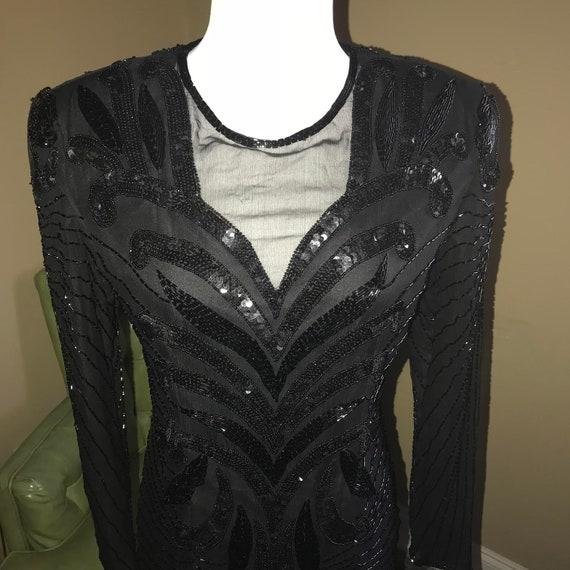 Vtg black sequin and beaded dress