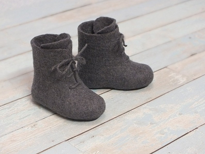 42bf16a6d923c Winter crib shoes Ready to ship baby boots Felted ankle booties boys Warm  wool shoes with laces Lithuania felt shoes Gift for grandchild