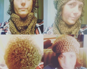 Crochet beret beanie and cowl scarf