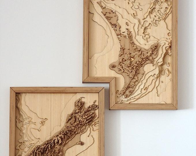 New Zealand Map - 3D Wall Art