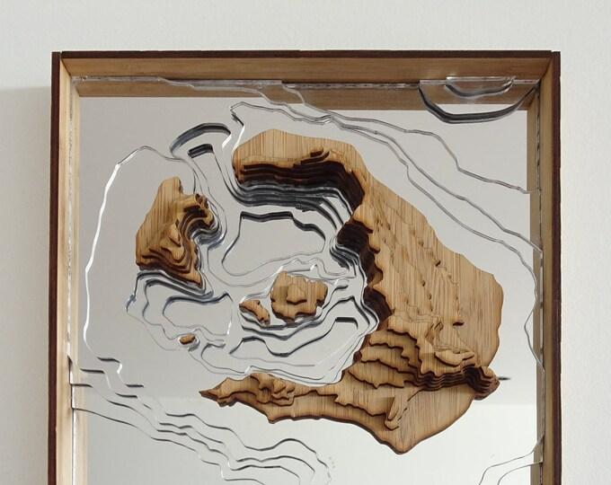 Santorini Island Map, Greece - 3D Wall Art