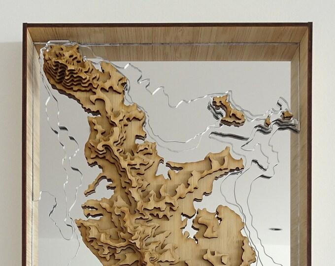 Coromandel Peninsula Map, New Zealand - 3D Wall Art