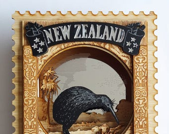 New Zealand Wall Art - Vintage Postage Stamp, Kiwi bird, 3D Laser Cut