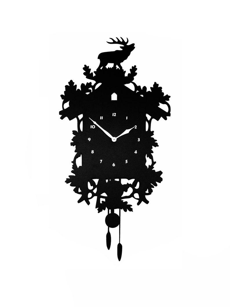 Modern Cuckoo Clock Large Wall Clock Laser Cut Acrylic image 0