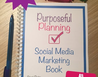 Social Media Marketing Planner Notebook, 12 Months, Social Media Planner Diary, Social Media Organiser