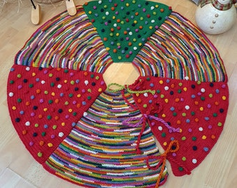 Christmas Tree Skirt with Bobbles and Multicolored Stripes Unique Handmade Xmas Tree Skirt Hand Knit Christmas Tree Skirt Fair Trade