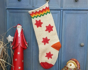 Hand Knit Christmas Stocking Knitted Christmas Stockings Knit X-mas Stocking Off Dimension