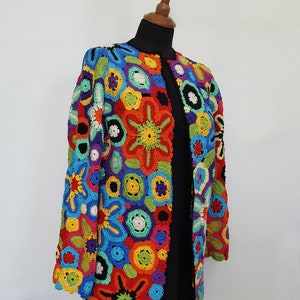 Crochet Chic Vest TunicBohemian sleevless JacketPatchwork Crochet Freestyle Asymmetric Boho Chic Vest with applications-unique design