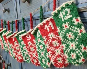 Unique Handmade Knit Advent Calendar Christmas Decor Mini Christmas Stockings Advent Calendar Hand Knit Hand Embroidered Fair Trade