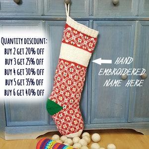 Handmade Christmas Stockings Personalized Knitted Christmas Stockings Red White Green xmas Stockings Fair Trade Knit Christmas Stocking