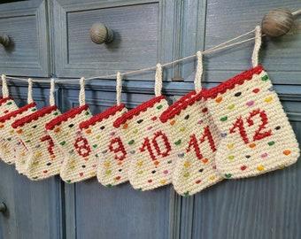 Unique Handmade Crochet Advent Calendar Christmas Decor Mini Christmas Stockings Advent Calendar Hand Knit Hand Embroidered Fair Trade