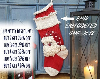 Hand Knit Christmas Stocking With Applique Santa Claus, Knitted Christmas Stockings, Knit X-mas Stocking with Santa Claus, Fair Trade Xmas