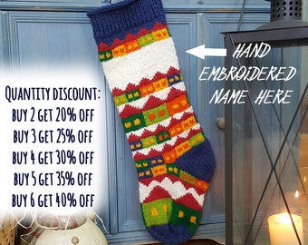 Personalized Knitted Christmas Stockings Red White Green, Fair Trade Knit Christmas Stocking, Handmade Christmas Stockings, xmas Stockings