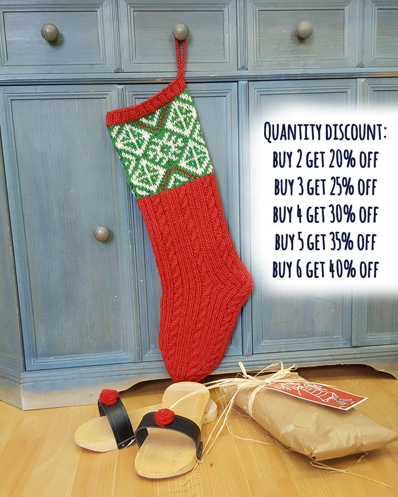54c2c124 Christmas Stocking Red Green White Hand Knit Christmas   Etsy