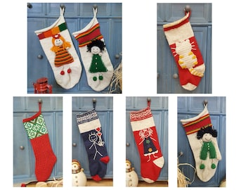 Lot of 7 Christmas Stockings - assorted styles and sizes