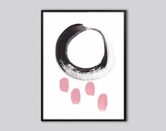 Abstract wall art print, abstract art, Pink black wall art, abstract wall decor, pink and black abstract painting, abstract artwork, 15