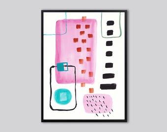 Large Abstract wall art print, abstract art, abstract painting, black, pink abstract wall decor, pink and black abstract painting, 00