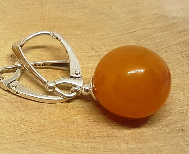 Baltic amber earrings Sterling silver earrings Gemstone beads Amber beads Butterscotch amber Natural stone Stone earrings Amber with silver