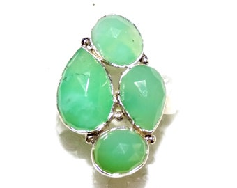 100 % Natural Chrysoprase Ring in .925 Sterling Silver
