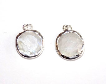 Rainbow Moonstone with Blue Fire Sterling Silver Charms