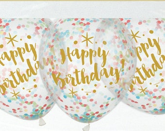 Confetti Balloons Gold Happy Birthday Pack Of 6 12 Mixed Decor 30th