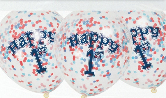 Confetti Balloons Happy 1st Pack Of 6 12