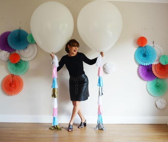 Mr Mrs Set Balloons White Wedding Balloons DIY KIT tassel tail Balloon 36 in 3ft