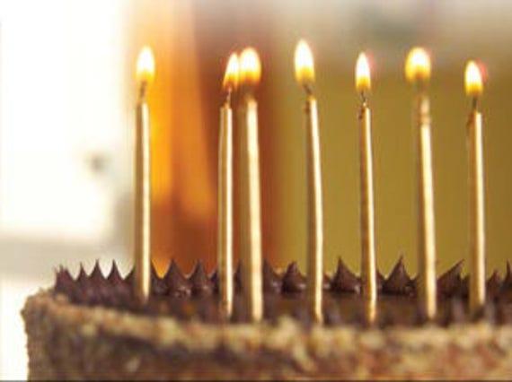 Metallic Rose Gold Cake Candles 12pk Wedding Happy Birthday Party Decoration