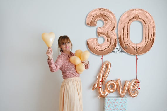 Rose Gold Number Balloons Age Party Custom Happy 30