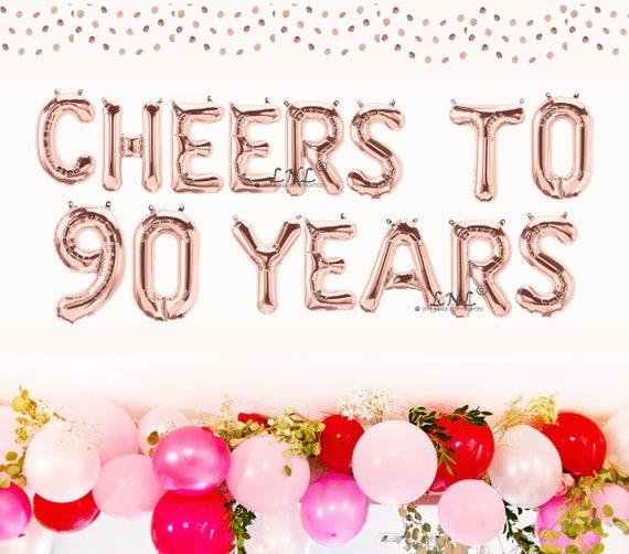 Cheers To 90 Years Rose Gold Balloons Silver Mylar