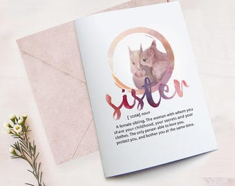 Funny Sister Birthday Card Printable For Best From Definition Squirrel Sisters Art