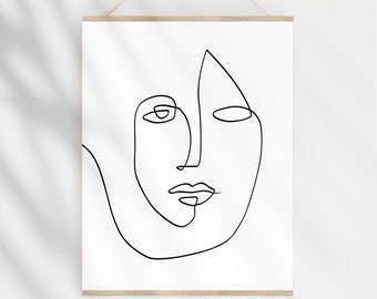Abstract Face Art Etsy