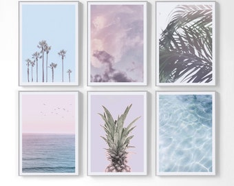 Set Of 6 Prints Printable Tropical Wall Decor, Ocean Wall Prints Art, Palm  Leaf Decor, Palm Tree Poster Pineapple Art Pastel Print Download