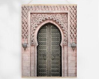 Blush Moroccan Decor Door Photography Print Boho Wall Art, Architectural Print Digital Download Art, Modern Wall Prints Travel Poster