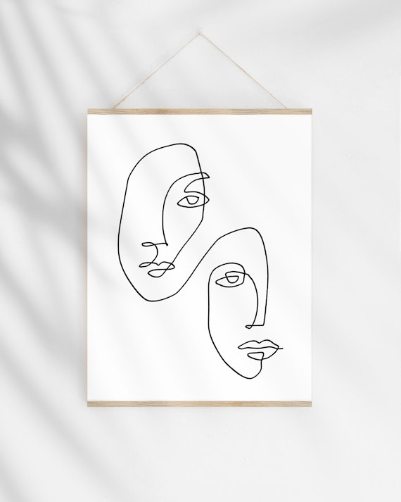 Continuous Line Art Print One Line Drawing Faces Illustration Modern Minimalist Sketch Abstract Wall Art Printable Original Artwork