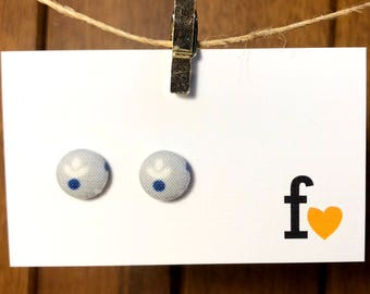 Fabric button stud earrings   12mm   simple flower