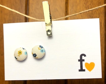 Fabric button stud earrings | 12mm | Antique Flowers