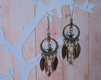 Earrings bronze and gold