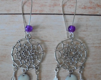 """Earrings-""""Dreamcatcher"""" silver, Pearl and sequin"""