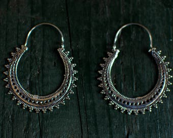 Silver boho earrings - medium