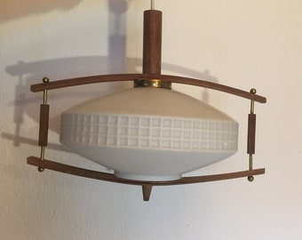 danish design lamp ufo panton aera teak&opal glass vintage 60s