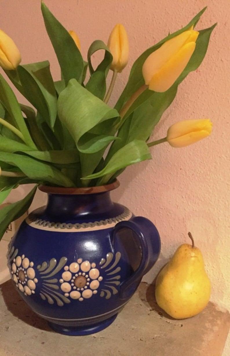 Vintage farmhouse cachepot blue-white german handcraft stoneware plantervase unique signed