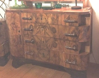 Art deco cabinet 1940s Borsani buffet walnut sideboard venetian baroque style credenza,  chest of drawerst vintage 20s-40s