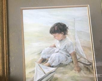 Artist Pamela Neil - Boy on Beach with Sailboats