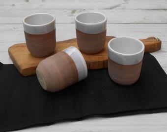 Four-cup espresso coffee cups in ceramic gres.