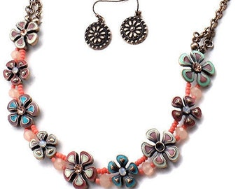 Flower and Bead Crystal Necklace  and Earrings Set