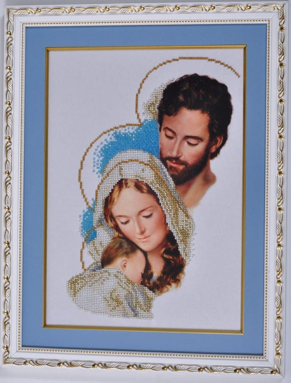 religious beaded embroidery Saint Joseph With Jesus needlework kit DIY
