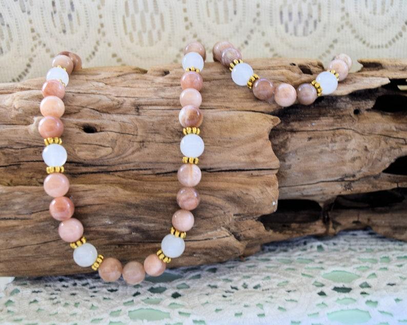 f4d7e8eb45da Sunstone Choker and Bracelet Set Beach Jewelry Beaded | Etsy