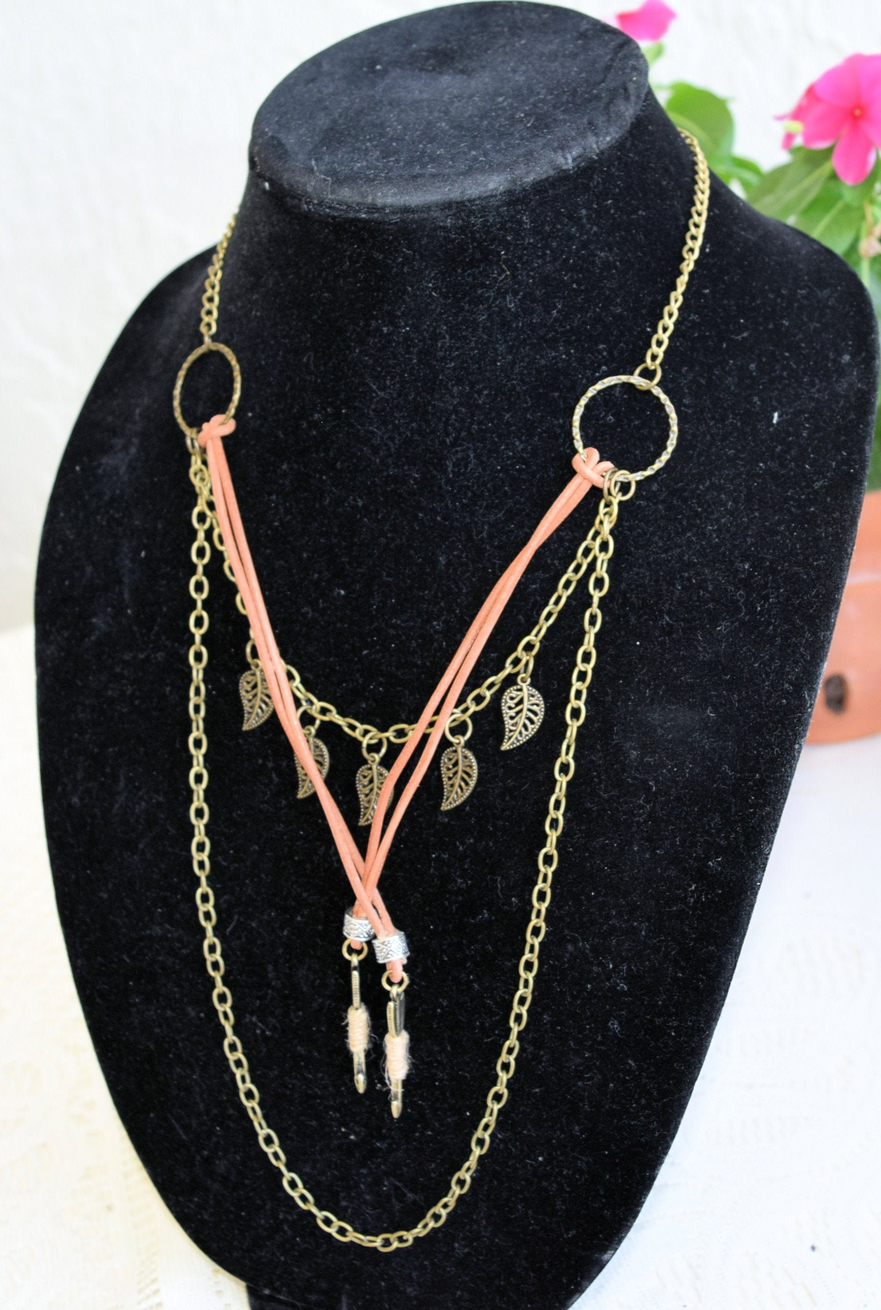 Boho Necklace Modern Hippie Jewelry Antiqued Gold Necklace Etsy